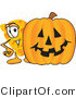 Vector Illustration of a Cartoon Cheese Mascot Standing by a Large Halloween Pumpkin by Toons4Biz