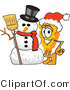 Vector Illustration of a Cartoon Cheese Mascot Wearing a Santa Hat and Standing Beside a Snowman on Christmas by Toons4Biz