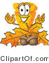 Vector Illustration of a Cartoon Cheese Mascot with Autumn Leaves and Acorns - Royalty Free Vector Illustration by Toons4Biz
