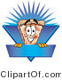 Vector Illustration of a Cartoon Cheese Pizza Mascot on a Blank Blue Label by Toons4Biz