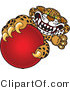 Vector Illustration of a Cartoon Cheetah Mascot Grabbing a Red Ball by Toons4Biz