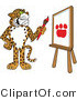 Vector Illustration of a Cartoon Cheetah Mascot Painting a Paw Print by Toons4Biz
