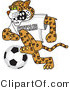 Vector Illustration of a Cartoon Cheetah Mascot Playing Soccer by Toons4Biz