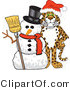 Vector Illustration of a Cartoon Cheetah Mascot with a Snowman by Toons4Biz
