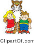 Vector Illustration of a Cartoon Cheetah Mascot with School Children by Toons4Biz
