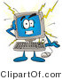 Vector Illustration of a Cartoon Computer Mascot Crashing by Toons4Biz
