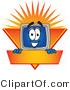 Vector Illustration of a Cartoon Computer Mascot Logo Showing the Monitor Smiling over an Orange and Yellow Banner Against a Sunburst by Toons4Biz