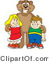 Vector Illustration of a Cartoon Cougar Mascot Character with Children by Toons4Biz