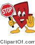 Vector Illustration of a Cartoon down Arrow Mascot Holding a Stop Sign by Toons4Biz