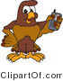 Vector Illustration of a Cartoon Falcon Mascot Character Holding a Cell Phone by Toons4Biz