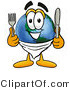 Vector Illustration of a Cartoon Globe Mascot Holding a Knife and Fork by Toons4Biz