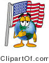 Vector Illustration of a Cartoon Globe Mascot Pledging Allegiance to an American Flag by Toons4Biz