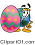 Vector Illustration of a Cartoon Globe Mascot Standing Beside an Easter Egg by Toons4Biz