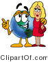 Vector Illustration of a Cartoon Globe Mascot Talking to a Pretty Blond Woman by Toons4Biz