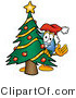 Vector Illustration of a Cartoon Globe Mascot Waving and Standing by a Decorated Christmas Tree by Toons4Biz
