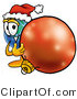 Vector Illustration of a Cartoon Globe Mascot Wearing a Santa Hat, Standing with a Christmas Bauble by Toons4Biz