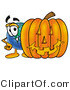 Vector Illustration of a Cartoon Globe Mascot with a Carved Halloween Pumpkin by Toons4Biz