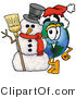 Vector Illustration of a Cartoon Globe Mascot with a Snowman on Christmas by Toons4Biz