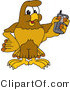 Vector Illustration of a Cartoon Hawk Mascot Character Holding a Cell Phone by Toons4Biz