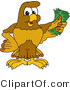 Vector Illustration of a Cartoon Hawk Mascot Character Holding Cash by Toons4Biz