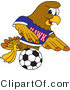 Vector Illustration of a Cartoon Hawk Mascot Character Playing Soccer by Toons4Biz