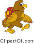 Vector Illustration of a Cartoon Hawk Mascot Character Walking to School by Toons4Biz