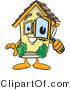 Vector Illustration of a Cartoon Home Mascot Looking Closely Through Magnifying Glass by Toons4Biz