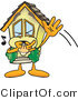 Vector Illustration of a Cartoon Home Mascot Waving and Whistling Trying to Get Attention by Toons4Biz