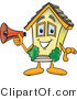 Vector Illustration of a Cartoon Home Mascot with Megaphone by Toons4Biz