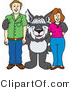 Vector Illustration of a Cartoon Husky Mascot with Parents by Toons4Biz