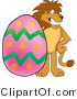 Vector Illustration of a Cartoon Lion Mascot with an Easter Egg by Toons4Biz