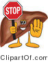 Vector Illustration of a Cartoon Liver Mascot Holding a Stop Sign by Toons4Biz