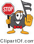 Vector Illustration of a Cartoon Music Note Mascot Holding a Stop Sign by Toons4Biz