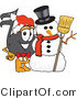 Vector Illustration of a Cartoon Music Note Mascot with a Snowman on Christmas by Toons4Biz