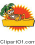 Vector Illustration of a Cartoon Palm Tree Mascot over a Blank Yellow Business Label with an Orange Burst by Toons4Biz