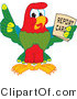 Vector Illustration of a Cartoon Parrot Mascot Holding a Report Card by Toons4Biz