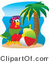Vector Illustration of a Cartoon Parrot Mascot with a Beach Ball by Toons4Biz