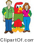 Vector Illustration of a Cartoon Parrot Mascot with Parents by Toons4Biz