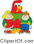 Vector Illustration of a Cartoon Parrot Mascot with Students by Toons4Biz
