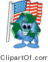 Vector Illustration of a Cartoon Recycle Mascot Pledging Allegiance to an American Flag by Toons4Biz