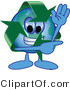 Vector Illustration of a Cartoon Recycle Mascot Waving and Pointing by Toons4Biz