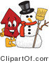 Vector Illustration of a Cartoon Red up Arrow Mascot by a Snowman by Toons4Biz