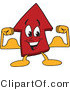 Vector Illustration of a Cartoon Red up Arrow Mascot Flexing by Toons4Biz