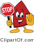 Vector Illustration of a Cartoon Red up Arrow Mascot Holding a Stop Sign by Toons4Biz