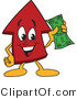 Vector Illustration of a Cartoon Red up Arrow Mascot Holding Cash by Toons4Biz