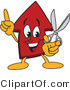 Vector Illustration of a Cartoon Red up Arrow Mascot Holding Scissors by Toons4Biz