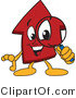 Vector Illustration of a Cartoon Red up Arrow Mascot Using a Magnifying Glass by Toons4Biz