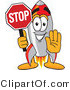 Vector Illustration of a Cartoon Rocket Mascot Holding a Stop Sign by Toons4Biz