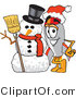 Vector Illustration of a Cartoon Rocket Mascot with a Snowman on Christmas by Toons4Biz