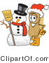 Vector Illustration of a Cartoon Scrub Brush Mascot Wearing a Santa Hat and Standing with a Snowman by Toons4Biz